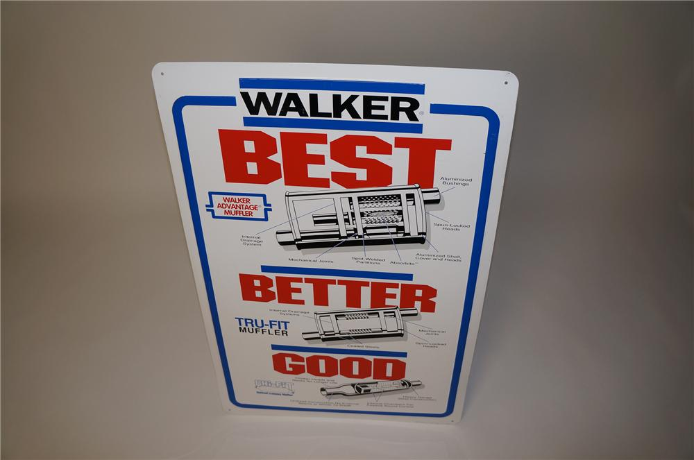 N.O.S. Walker Mufflers Good-Better-Best tin garage sign.  Pulled out of the original shipping paper! - Front 3/4 - 158076
