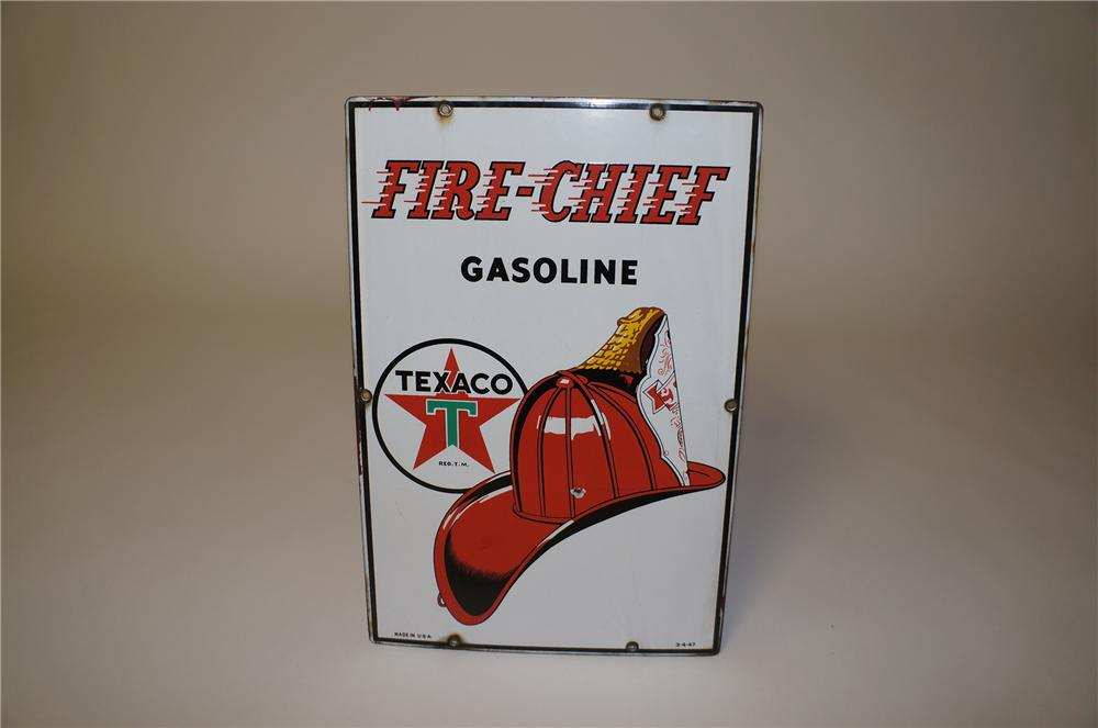 1947 Texaco Fire-Chief Gasoline porcelain pump plate sign with Fire Chief Helmet logo. - Front 3/4 - 158077