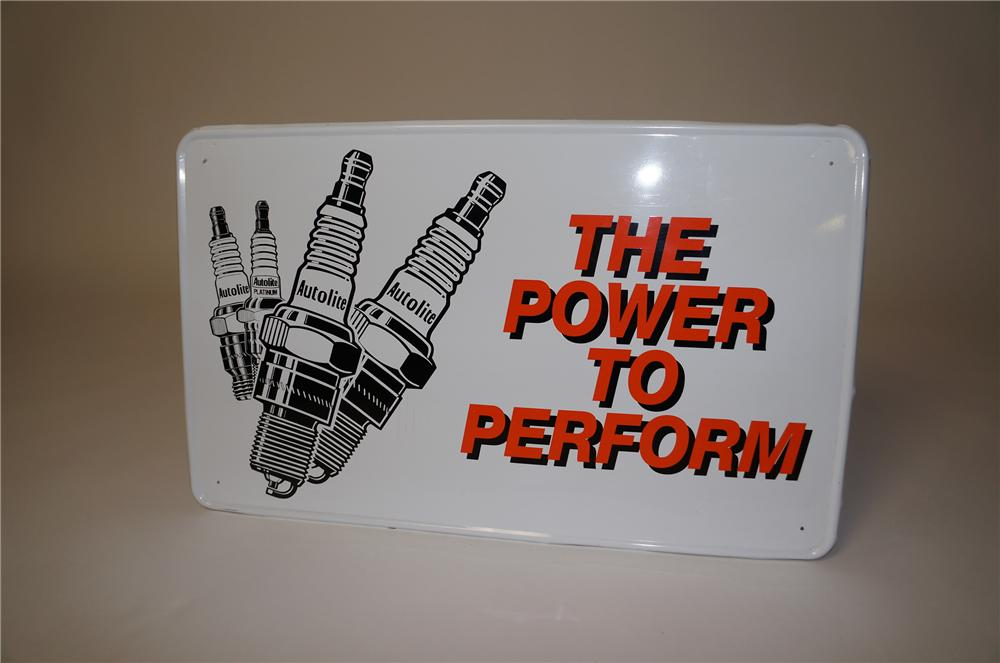 "Vintage Auto Lite Spark Plugs ""The Power to Perform"" tin garage sign with spark plug graphics. - Front 3/4 - 158080"