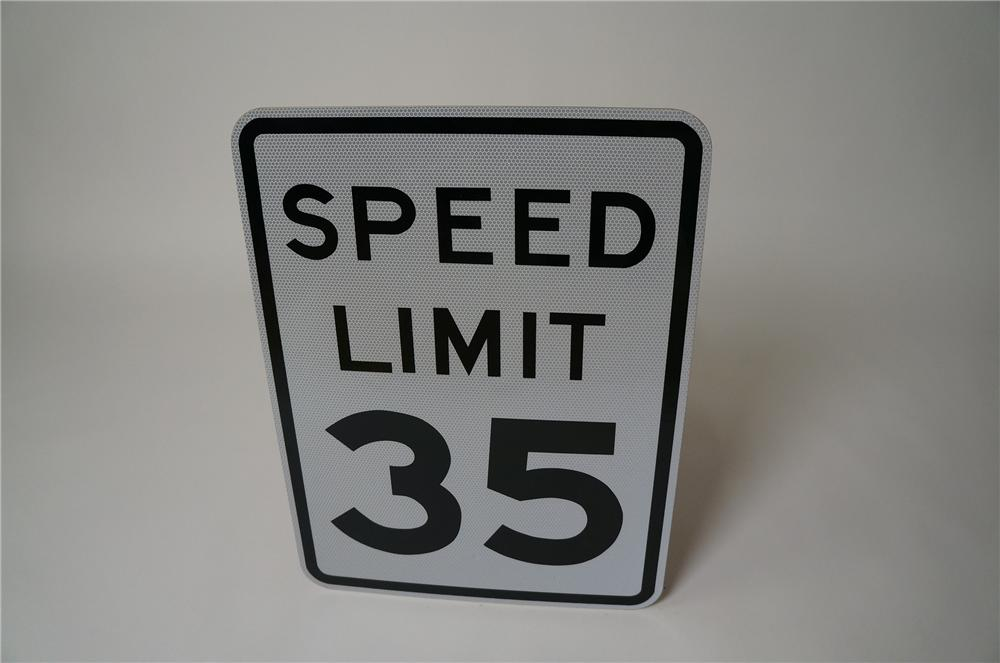 N.O.S. Speed Limit 35 highway road sign found unused. - Front 3/4 - 158081
