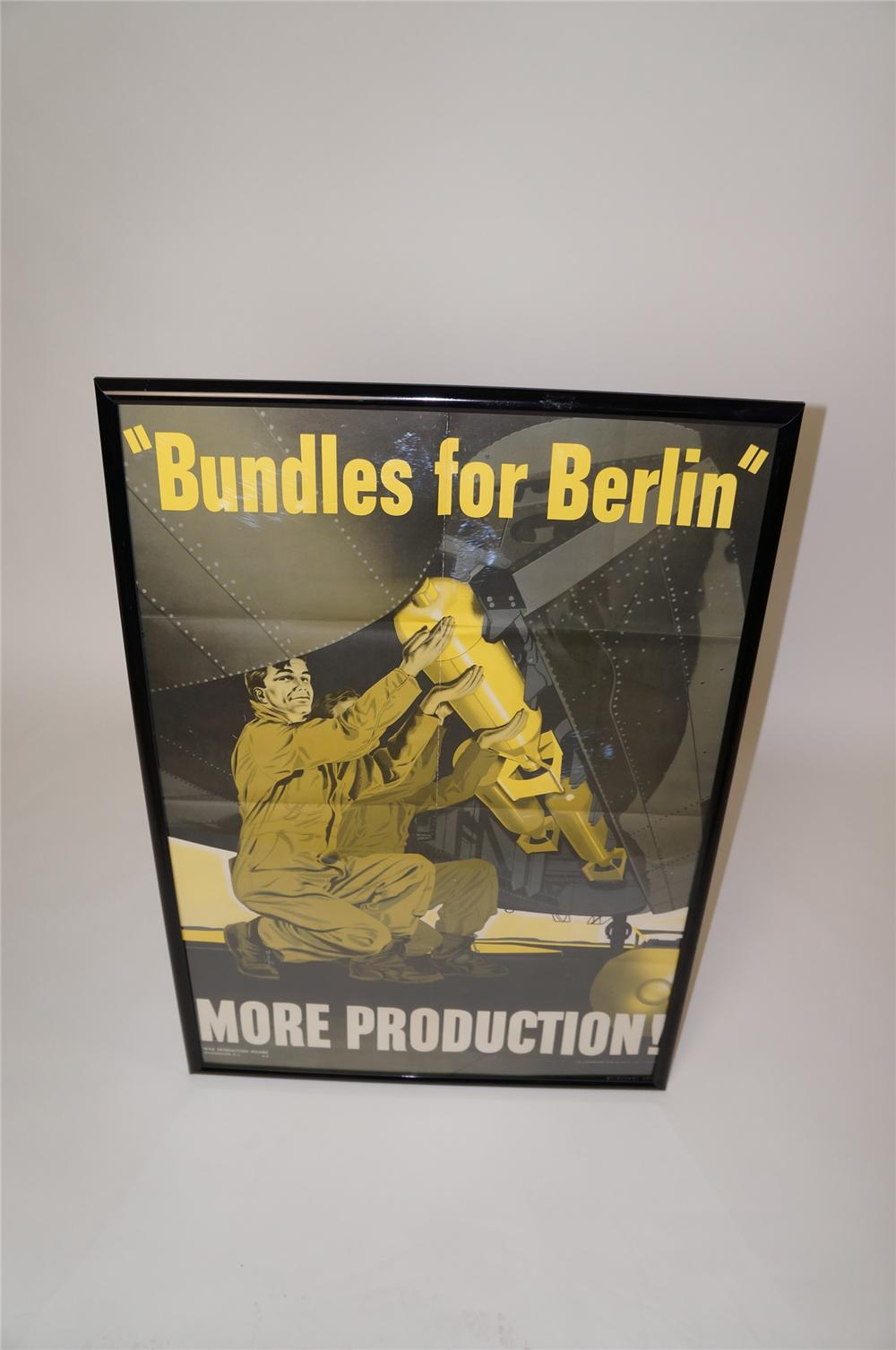 "Fabulous 1942 ""Bundles for Berlin"" War Production Department poster of a bomber bay being loaded. - Front 3/4 - 158084"