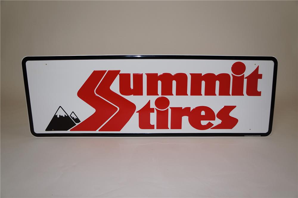 N.O.S. Summit Tires horizontal embossed tin automotive garage sign. - Front 3/4 - 158085
