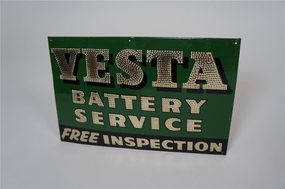 N.O.S. Vesta Battery Service embossed tin sign with reflective paint.  Never used! - Front 3/4 - 158087