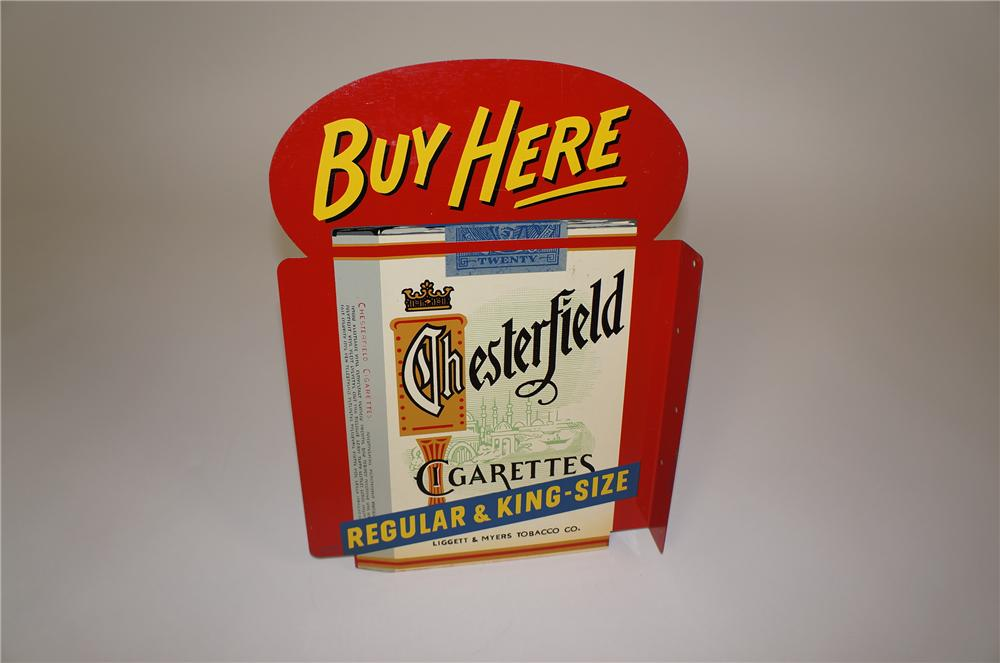 N.O.S. 1950s Chesterfield Cigarettes tin flange sign with nice six pack graphic. - Front 3/4 - 158088