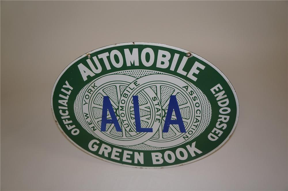 "Hard to find 1940s New York Automobile Association ""Green Book"" double-sided porcelain automotive garage sign. - Front 3/4 - 158090"