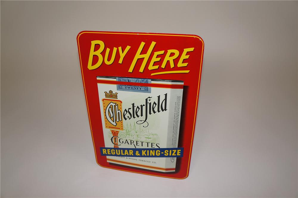 N.O.S. 1950s Chesterfield Cigarettes tin sign with embossed cigarette pack graphic. - Front 3/4 - 158091