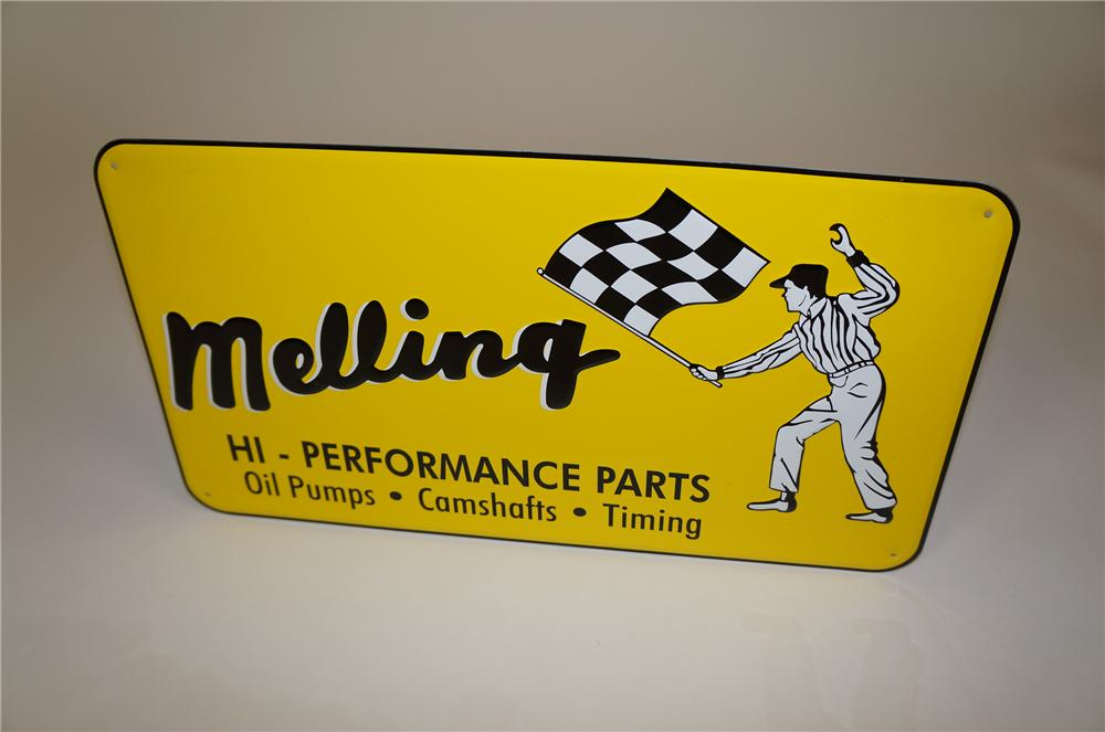 Melling Hi-Performance Racing Parts embossed tin automotive garage sign with nice graphics. - Front 3/4 - 158102