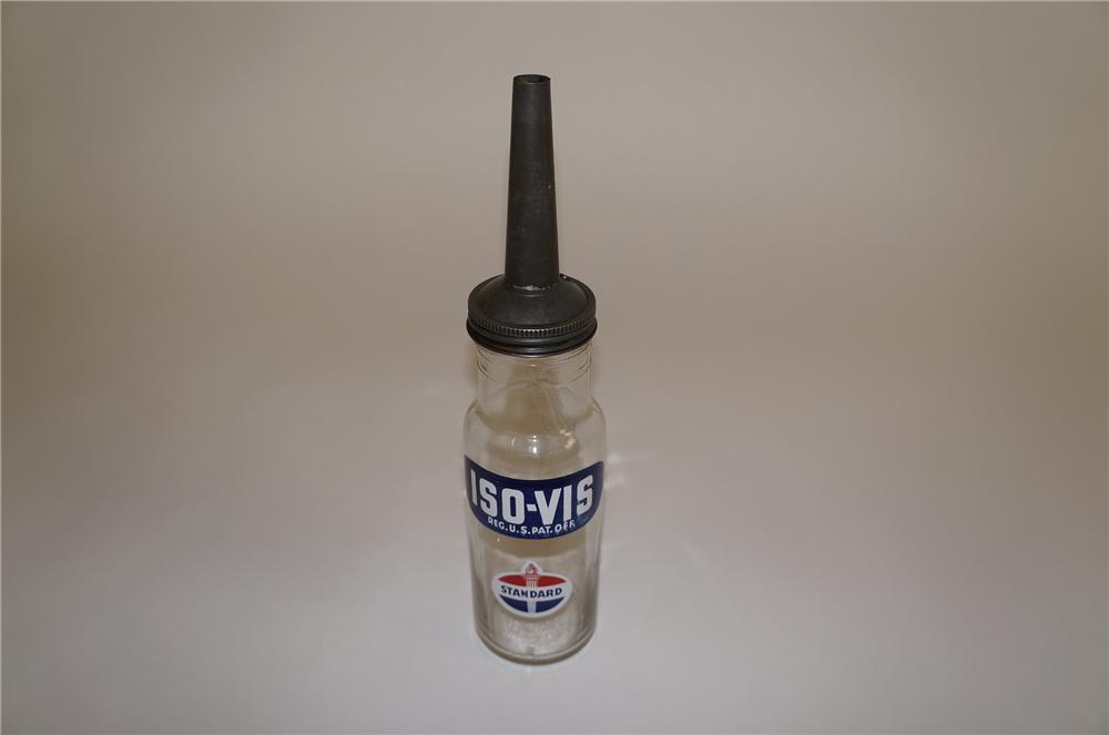 Superb 1930s-40s Standard Iso-Vis Motor Oil service station glass oil bottle with spout. - Front 3/4 - 158111