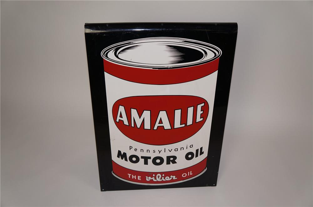 Superb 1950s Amalie Motor Oil double-sided tin curb sign with can graphic. - Front 3/4 - 158114