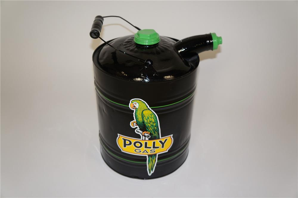 Sharp 1930s-40s restored Polly Oil service department five gallon multi-fluid can with lid. - Front 3/4 - 158118