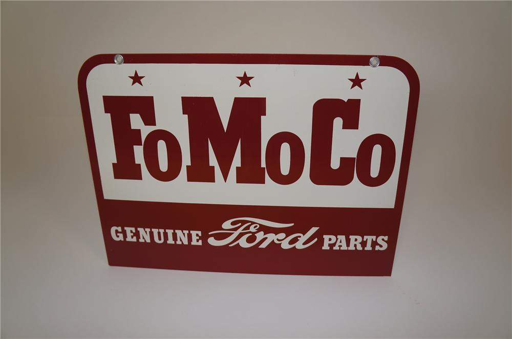 "N.O.S. late 1950s Ford ""FoMoCo"" Genuine Parts double-sided tin dealership sign. - Front 3/4 - 158123"
