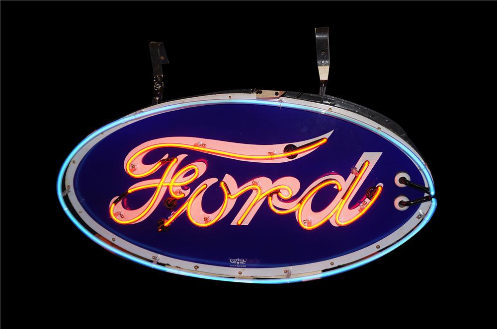 Impressive 1930s Ford Automobilies double-sided neon porcelain dealership sign in original can with hangers. - Front 3/4 - 158124