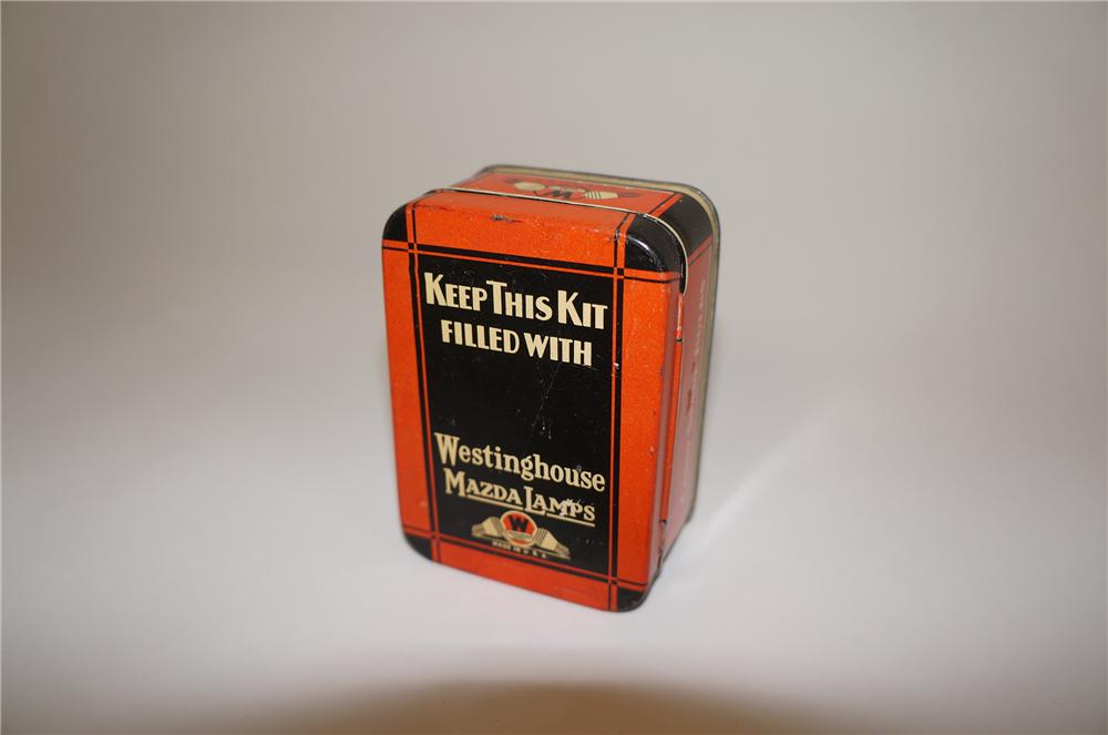 1930s Westinghouse Mazda Auto Lamps tin.  Exhibits most minimal of wear. - Front 3/4 - 158145