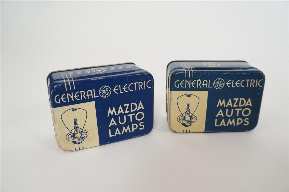 Lot of two 1930s GE Mazda Auto Lamps spare bult tins. - Front 3/4 - 158146