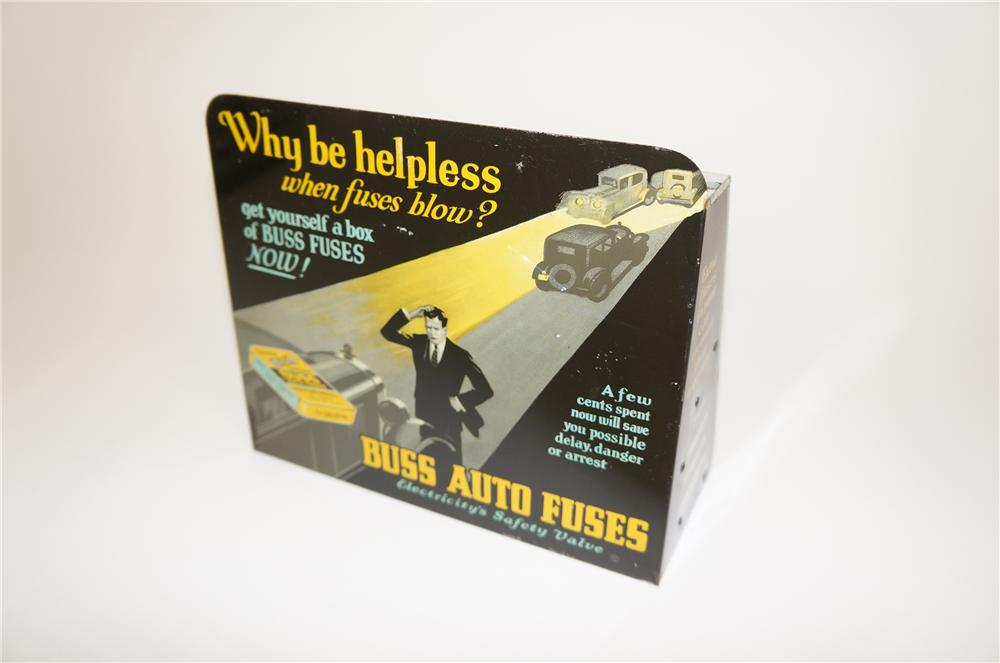 Museum quality late 1920s-30s Buss Auto Fuses automotive garage counter-top tin display with outstanding graphics. - Front 3/4 - 158151