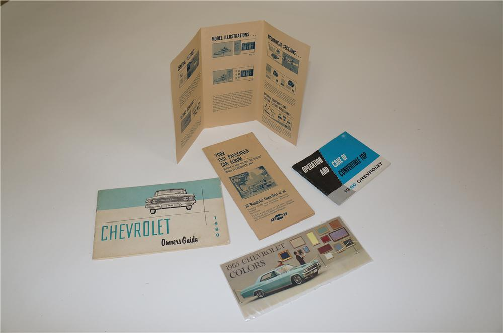 Large lot of 1960s Chevrolet dealer items including 1965 colors, 1960 convertible top, 1960 Owners Guide and more. - Front 3/4 - 158154