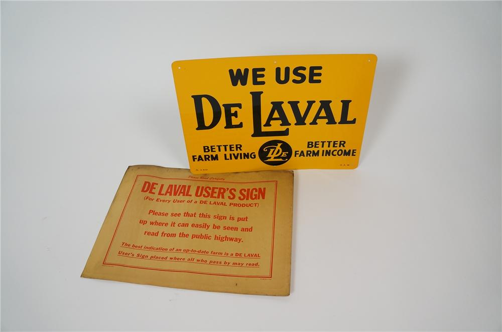 N.O.S. 1940s We Use DeLavel single-sided tin sign still in the original shipping sleeve. - Front 3/4 - 158163