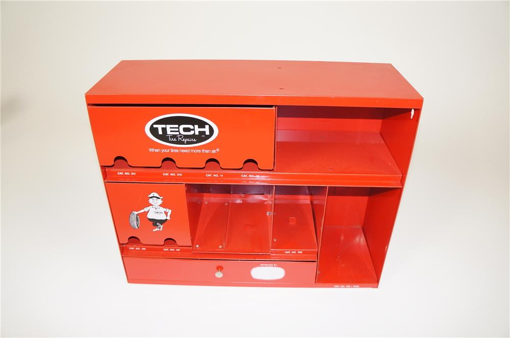 1960s Tech Tire Repairs service department display cabinet.  Appears to have never been used. - Front 3/4 - 158169