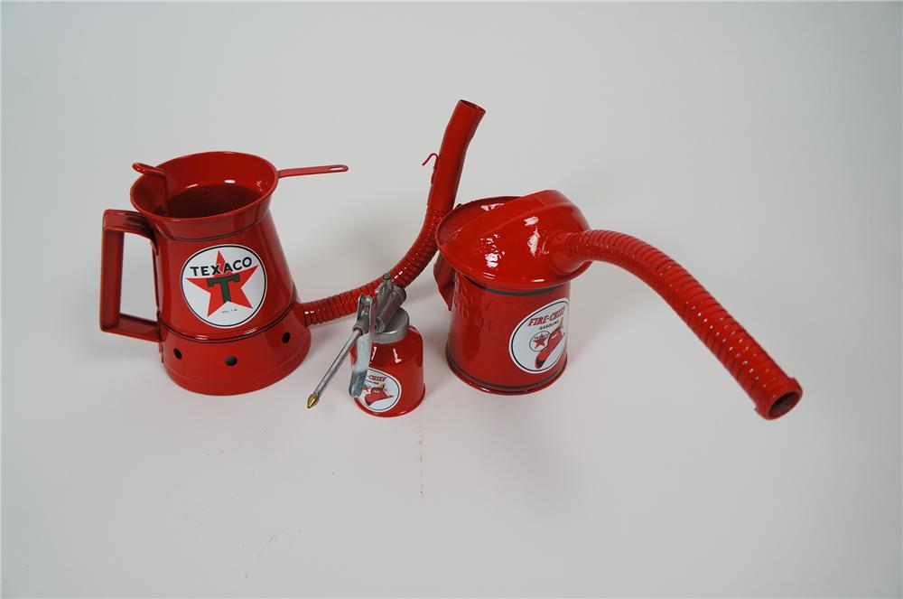 Lot of three restored Texaco Oil service department handy oilers circa 1930s-50s. - Front 3/4 - 158170