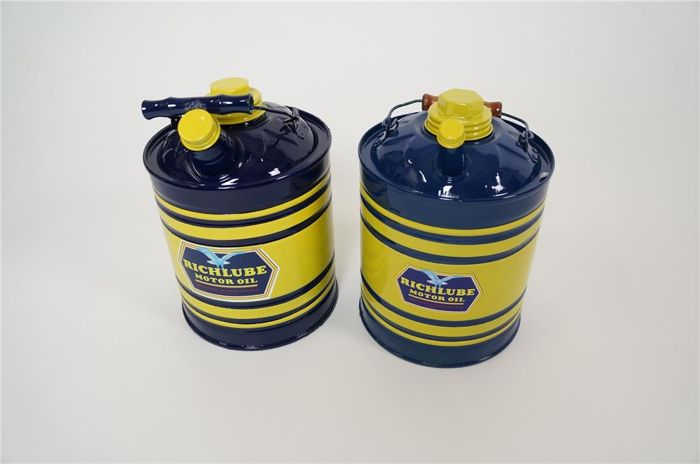 """Lot of two restored 1930s Richfield Oil """"Richlube"""" one gallon service department cans with spouts. - Front 3/4 - 158171"""