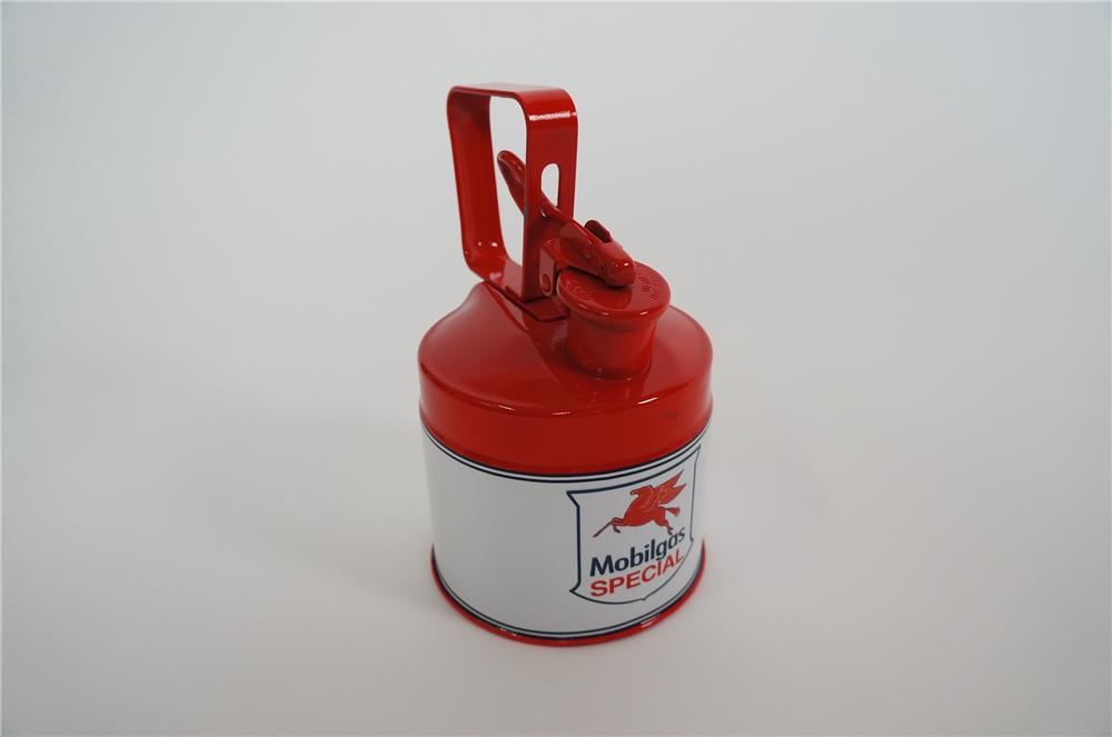 Restored 1930s-40s Mobil Oil service department safety can for multi-fluids. - Front 3/4 - 158172