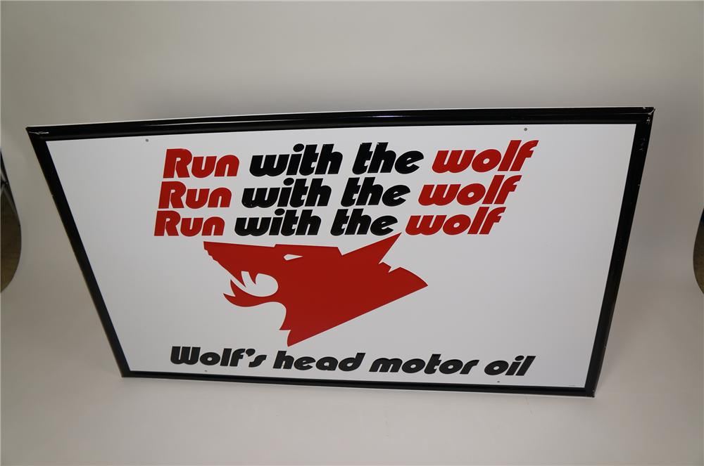 "Large N.O.S. Wolfs Head ""Run with the Wolf"" embossed tin sign with Wolfs head logo. - Front 3/4 - 158184"