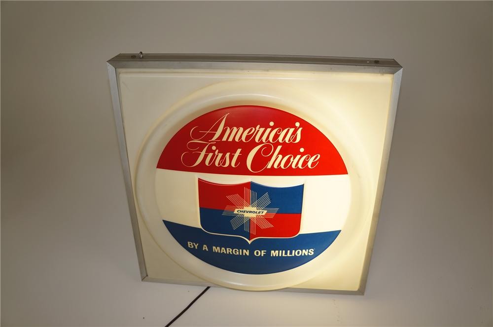Highly prized late 50s-early 60s Chevrolet Americas First Choice single-sided light-up dealership sign. - Front 3/4 - 158185