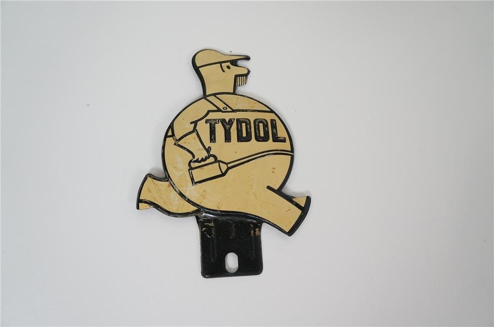 Fantastic N.O.S. 1930s Tydol Motor Oil die-cut tin license plate attachment sign of the iconic Tydol mechanic. - Front 3/4 - 158190