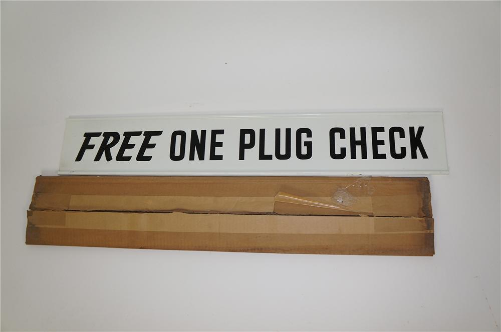 "Vintage Champion Spark Plugs ""Clean Rest Rooms"" double-sided tin service station sign still in the original box. - Front 3/4 - 158197"