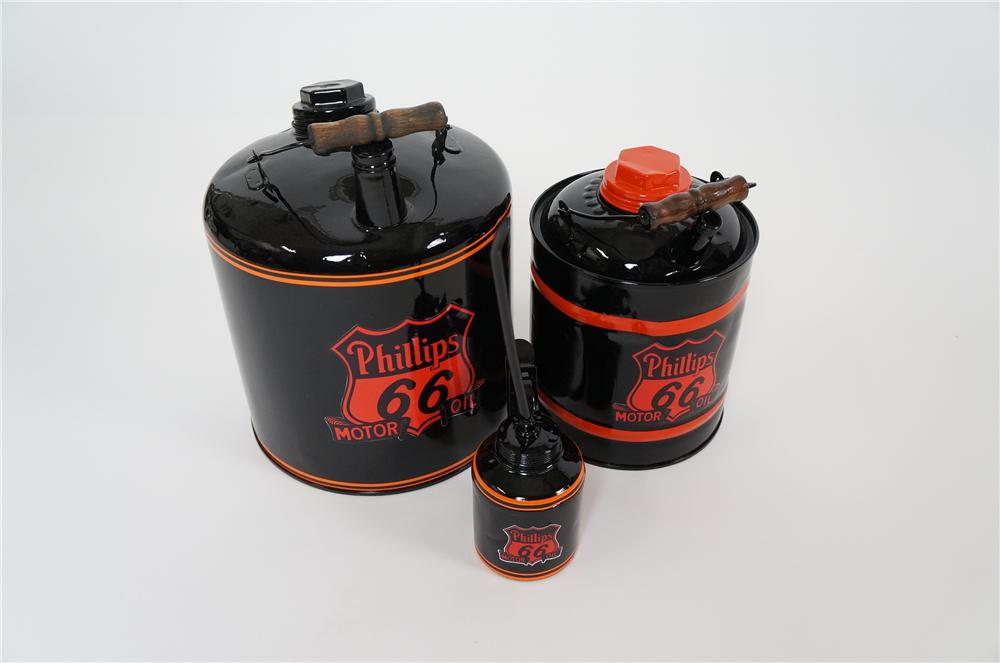 Nice set of three vintage 1920s-40s Phillips 66 Motor Oil restored service department oilers. - Front 3/4 - 158200