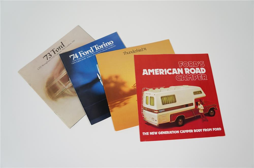 Four N.O.S. 1973-74 Ford Automobile showroom sales brochures in including Camper, Thunderbird, Torino and more. - Front 3/4 - 158201