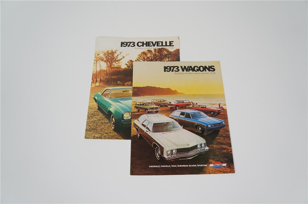 Lot of two N.O.S. 1973 Chevrolet showroom brochures for Chevelle and Wagons. - Front 3/4 - 158203