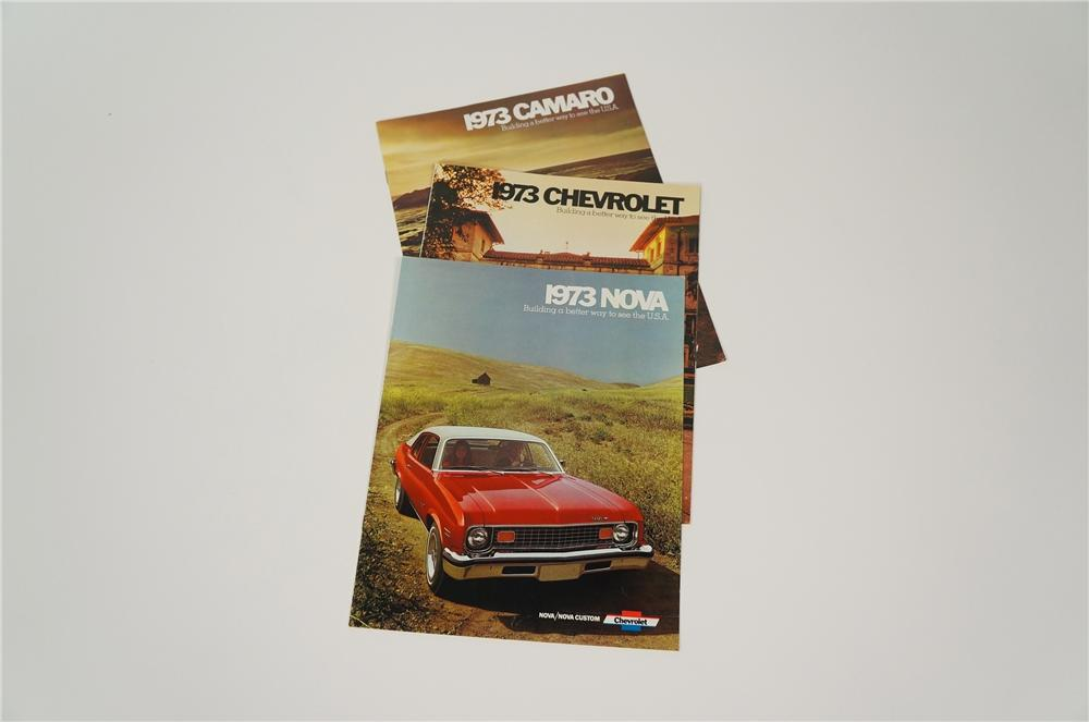 Lot of three vintage 1973 Chevrolet showroom sales brochures for Camaro, Nova and the complete line-up. - Front 3/4 - 158206