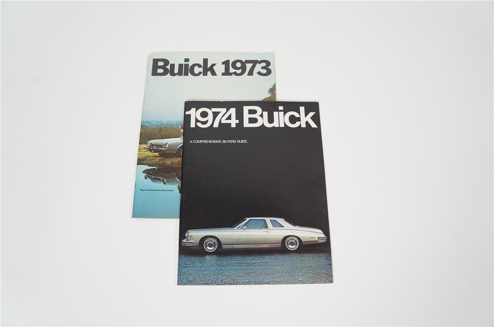 Lot of two Buick showroom sales brochures for 1973 and 1974. - Front 3/4 - 158207