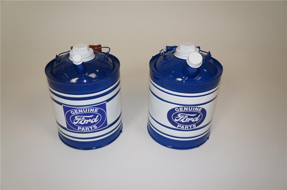Set of two vintage 1930s restored Ford Genuine Parts one gallon service department multi-fluid tins. - Front 3/4 - 158211