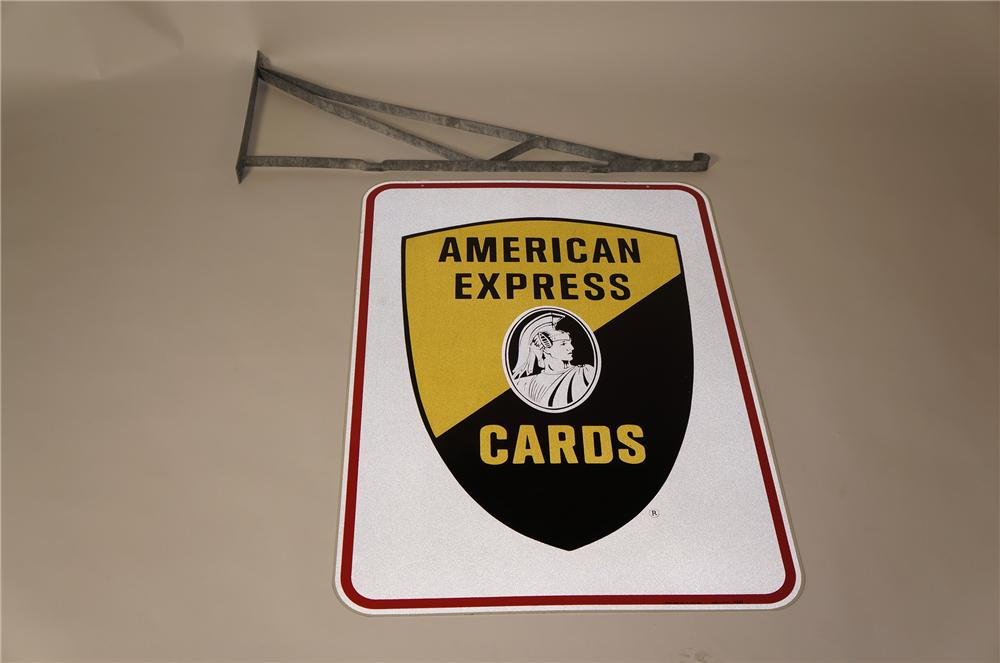 Fantastic 1960s American Express Credit Cards double-sided tin sign with original hanging bracket. - Front 3/4 - 158213
