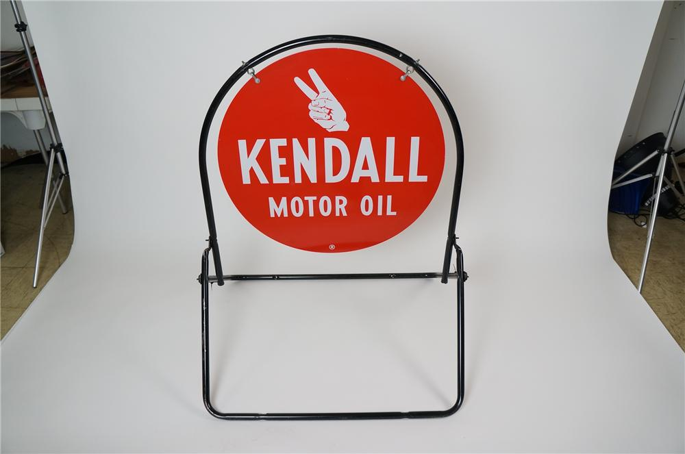 N.O.S. 1950s-60s Kendall Motor Oil double-sided tin service station curb sign.  Found unused! - Front 3/4 - 158214