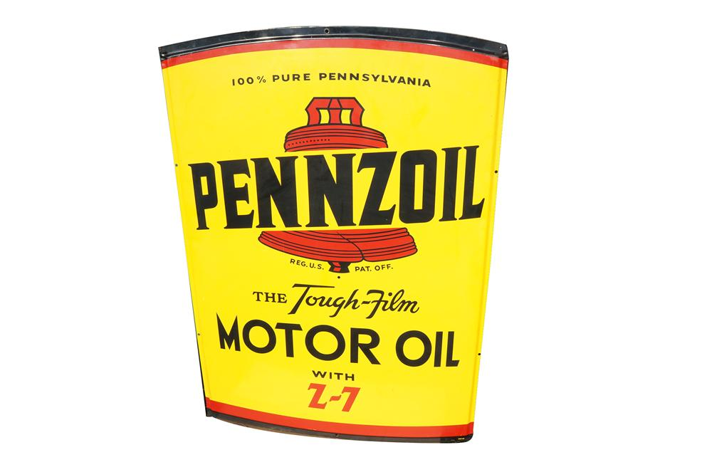 Magnificent large vintage Pennzoil Motor Oil die-cut tin can-shaped automotive garage sign. - Front 3/4 - 158231
