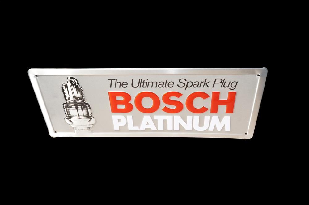 Bosch Platinum Spark Plugs embossed tin garage sign with nice graphic. - Front 3/4 - 158236
