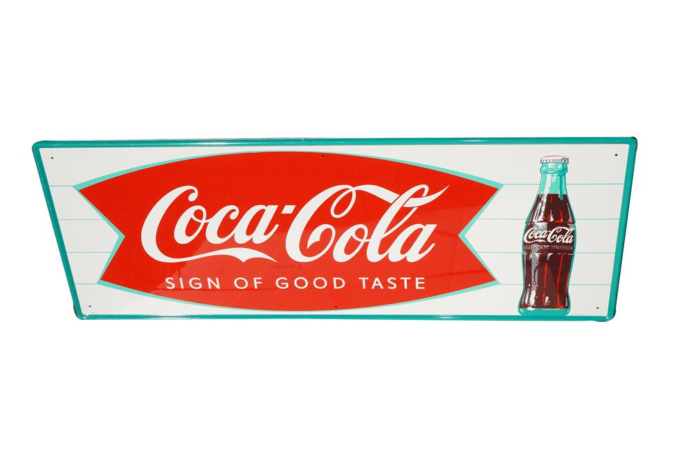 N.O.S. 1950s Coca-Cola Sign of Good Taste horizontal tin sign with fishtail and bottle logo. - Front 3/4 - 158242