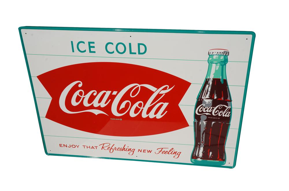 Choice N.O.S. 1950s Coca-Cola Ice-Cold tin sign with bottle graphic and fishtail logo. - Front 3/4 - 158244