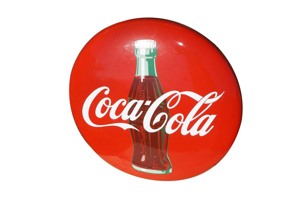 "Impressive 1950s Coca-Cola 24"" porcelain button sign with bottle graphic.  Appears to have never been used! - Front 3/4 - 158248"
