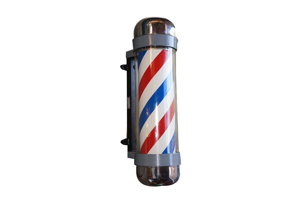 Fabulous 1950s Barber Shop lighted rotating pole.  Very good condition with glass cylinder and chrome body. - Front 3/4 - 158250