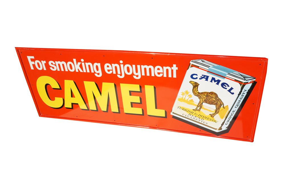 N.O.S. late 1950s-early 60s Camel Cigarettes single-sided tin sign with cigarette pack graphic. - Front 3/4 - 158253
