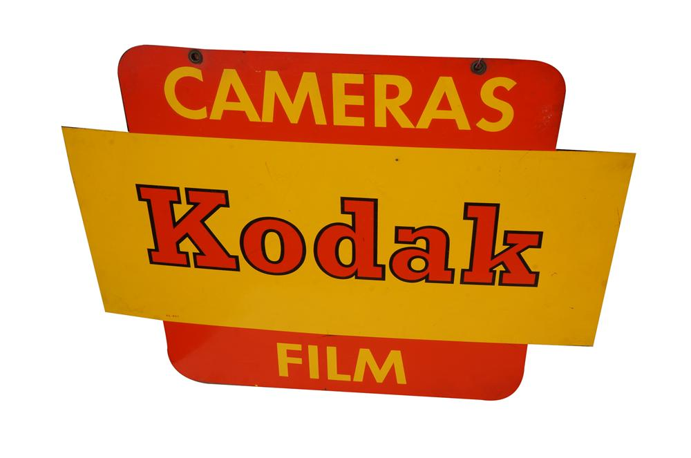 Seldom seen 1960s Kodak Cameras - Film double-sided tin sign. - Front 3/4 - 158254