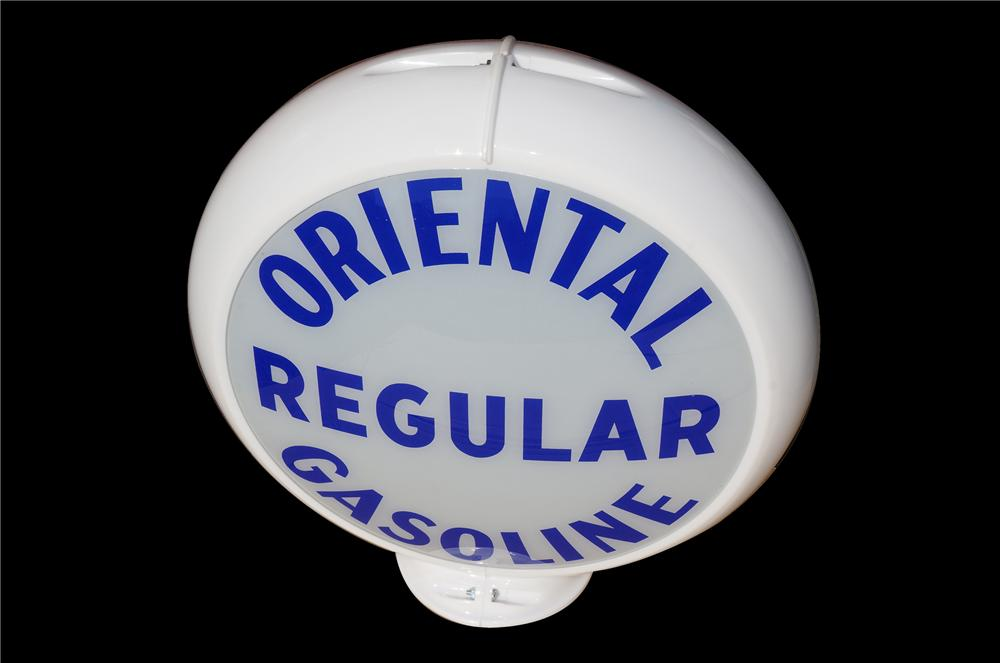 Unusual 1940s-50s Oriental Regular Gasoline gas pump globe in Capcolite body - Front 3/4 - 158258