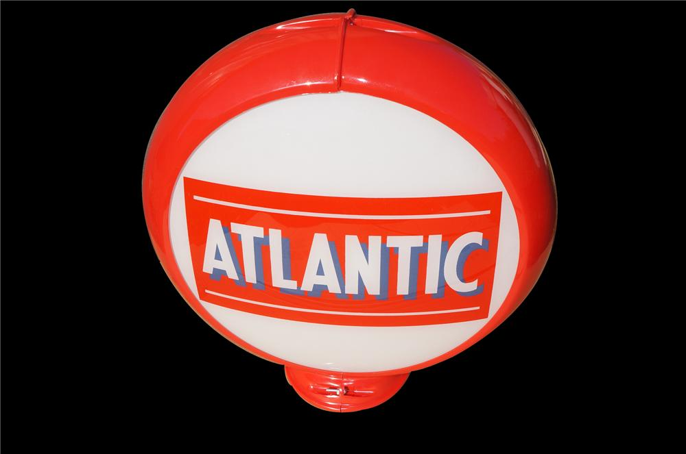 N.O.S. 1950s Atlantic Gasoline gas pump globe in Red Capcolite body. - Front 3/4 - 158263