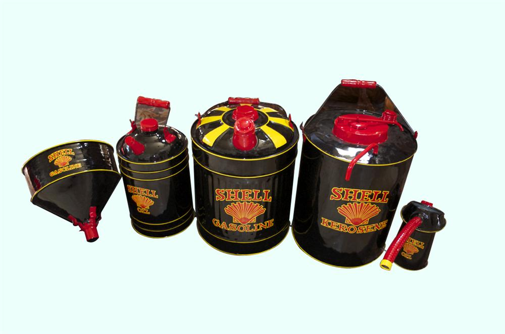 1930s Shell Oil and Gas can collection restored in the original black style. - Front 3/4 - 158283