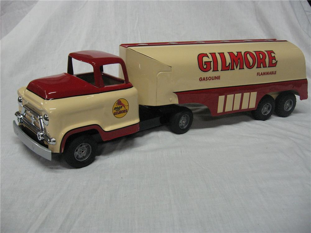 1950s Buddy L Toy Tanker truck custom painted in Gilmore Gasoline. - Front 3/4 - 158289