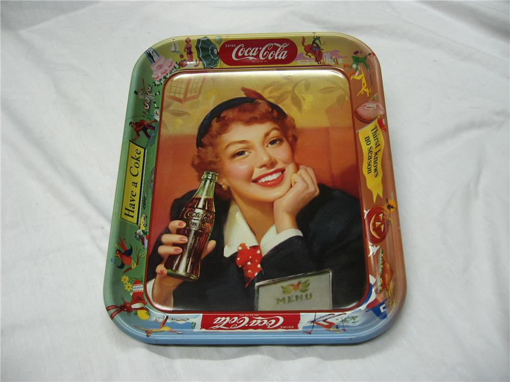 Original 1950s Coca-Cola Tray with beautiful period artwork of a young lady enjoying a coke. - Front 3/4 - 158290